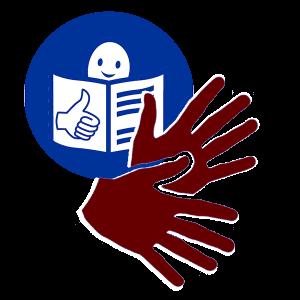 Inklusive Kommunikation: Leichte Sprache und gebärdende Hände, die als Logo dargestellt sind, gehören dazu