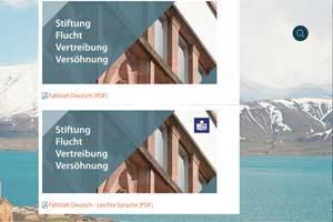 Deckblätter von zwei Flyers in Alltagssprache (oben) und Leichter Sprache