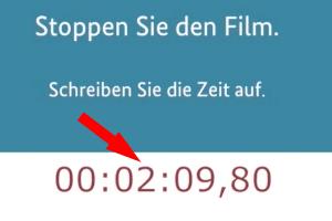 Timcode eines Videos mit rotem Pfeil