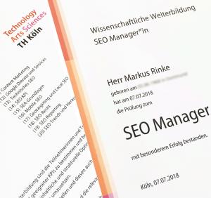 SEO-Manager - Zertifikat der TH-Köln
