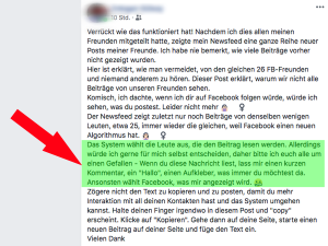 Screenshot: Neuer Facebook Hoax