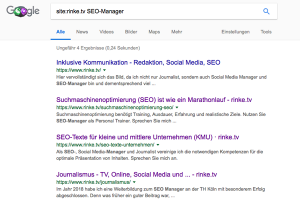 Screenshot einer Sitesearch