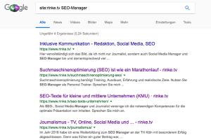 Screenshot einer Sitesearch