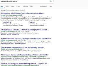 """SERP des Keywords """"Pressemitteilung schreiben"""""""