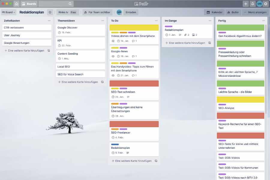 Trello-Board, um einen Redaktionsplan zu erstellen