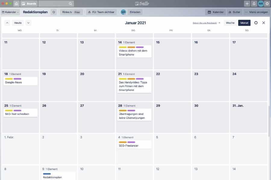 Kalender-Ansicht eines Redaktionsplan