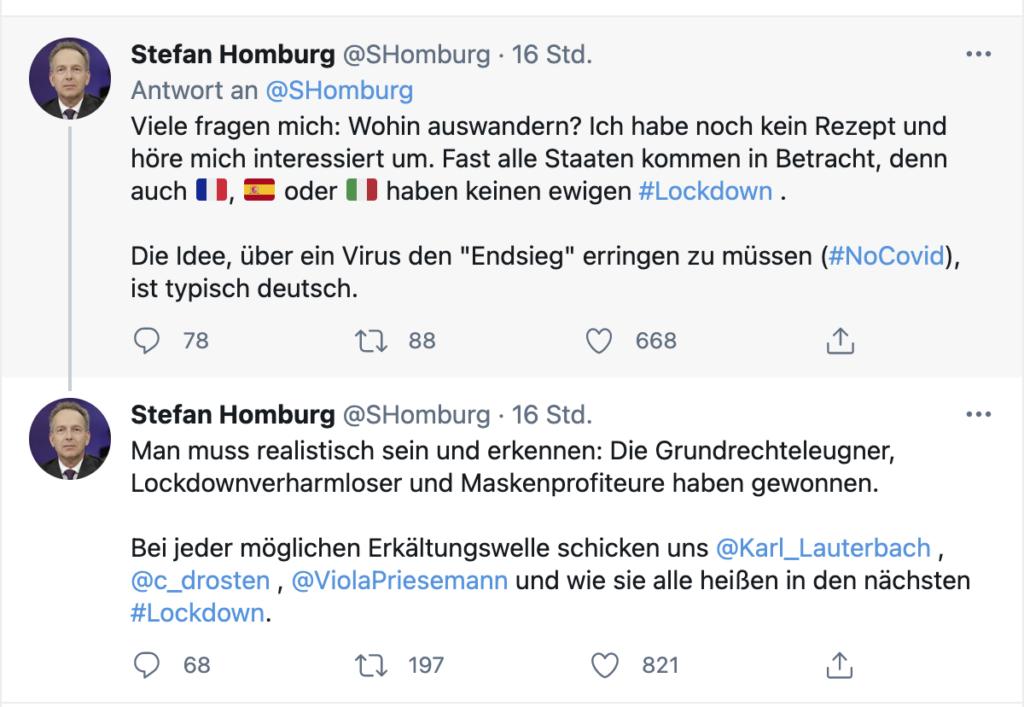 Tweets von Homburg zum Auswandern und Lockdown