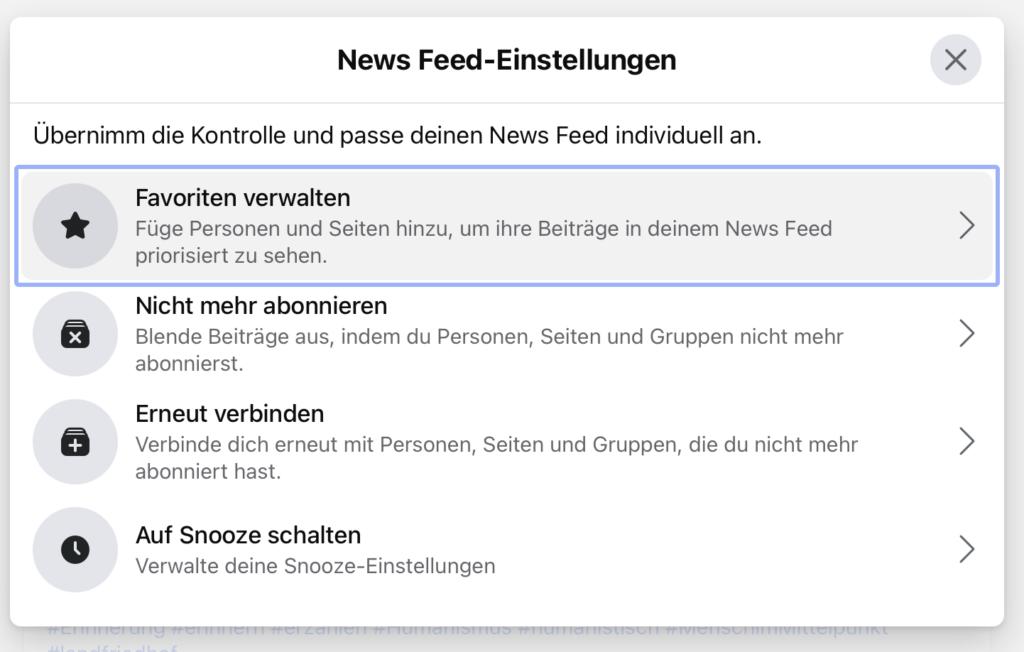 Screenshot: News-Feed-Einstellungen von Facebook